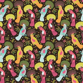 Magic Forest Birds - tropical floral jungle colorful bird animal kids home decor amazon rainforest