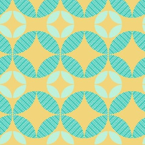 Yellow and Aqua Geometric Floral 2
