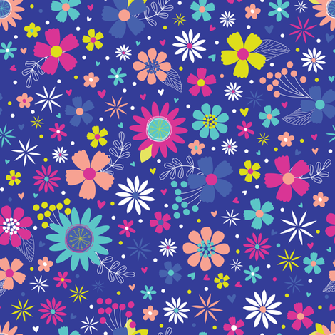 funky ditsy flowers on purple fabric by arkdesigns on Spoonflower - custom fabric