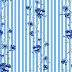 blue flowers & stripes