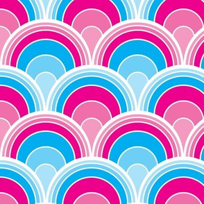 Cascading Art Deco Pink and Blue Fans