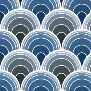 Art Deco Moody Blue Scallop Fans