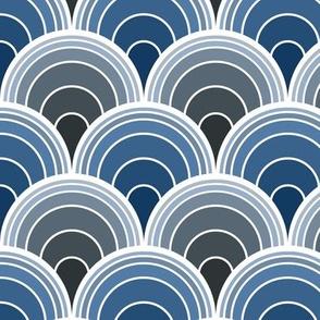 Art Deco Moody Blue Scallop Fans