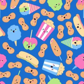Kawaii Circus Treats - Brights on blue