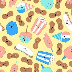 Kawaii Circus Treats - Pastel on yellow