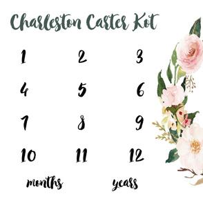 Personalized Blush Spring Blooms Baby Milestone Blanket