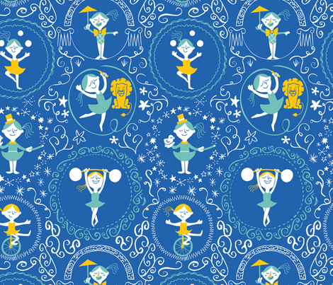 Circus performers fabric by natalia_gonzalez on Spoonflower - custom fabric