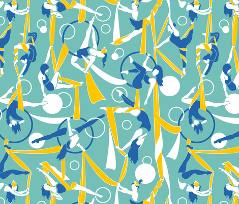 Circus dancers // moonstone blue background golden poppy & white ribbons circles lapis lazuli bows & dancers fabric by selmacardoso on Spoonflower - custom fabric