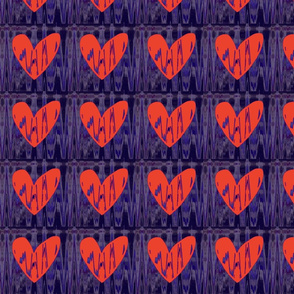 Heartbeat Neon Orange Hearts Upholstery Fabric
