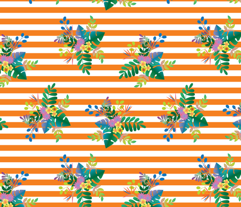 Rainforest Vivid Orange Stripe fabric by katebillingsley on Spoonflower - custom fabric