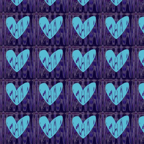 Heartbeat Fluorescent Blue Hearts Upholstery Fabric