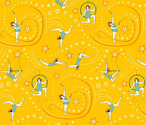Circus Performers - 1920s Acrobatic Girls fabric by hazel_fisher_creations on Spoonflower - custom fabric