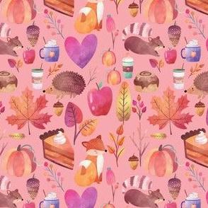 "4"" Autumn Watercolor on Light Pink"