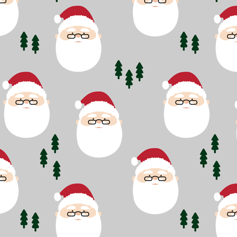 santa claus - green trees // holiday fabric fabric by littlearrowdesign on Spoonflower - custom fabric