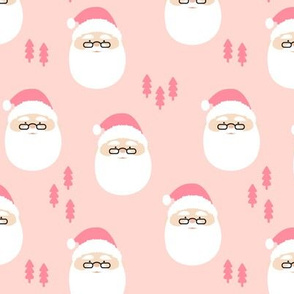 santa claus || holiday fabric - pink