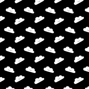 Smiling Kawaii Clouds Black