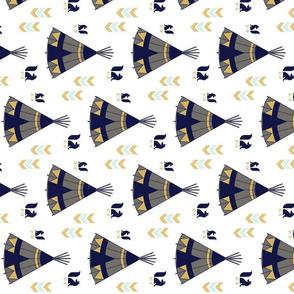 Navy Gold Teepee 90 degree rotation