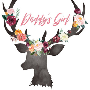 Fat Quarter Daddy's Girl Autumn Watercolor Floral Deer Head