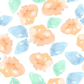 "18"" Watercolor Roses / Light Orange / Blue / Minty Green"