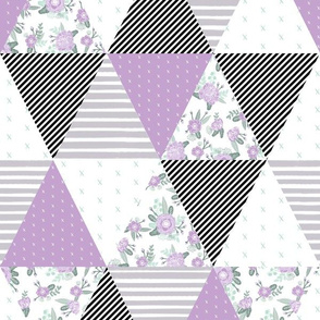 cheater quilt lavender sage mint black white stripes