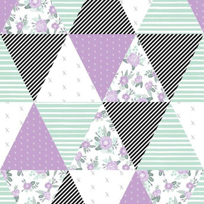cheater quilt lavender sage mint black white stripes