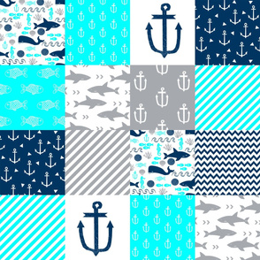 nautical cheater quilt navy and aqua
