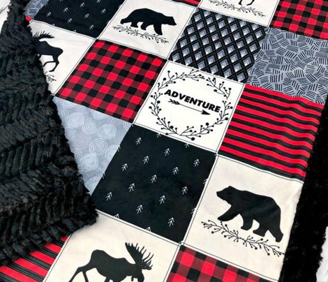 Adventure Patchwork Quilt ROTATED - Black, Red + Cream Woodland Bear & Moose Blanket Design