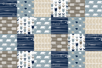 Rustic Woods Patchwork fabric - bear and arrows