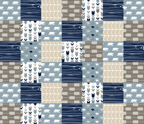 Rustic Woods Patchwork fabric - bear and arrows fabric by littlearrowdesign on Spoonflower - custom fabric