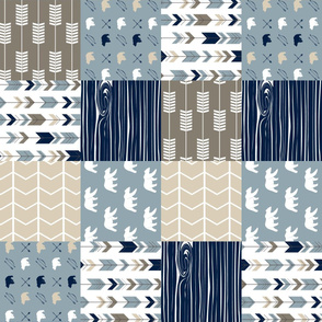 Rustic Woods Patchwork fabric - bear and arrows (90)