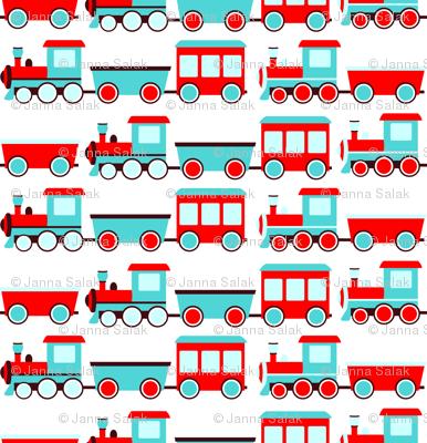 Aqua and Red Trains