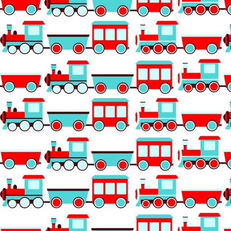 Aqua and Red Trains fabric by jannasalak on Spoonflower - custom fabric