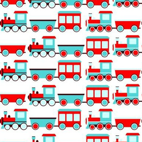 Aqua and Red Trains