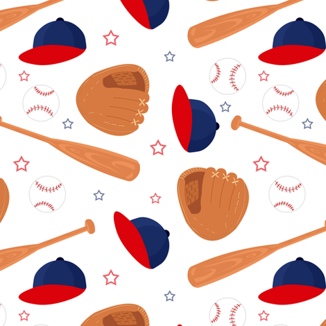 Baseball Blue and Red fabric by jannasalak on Spoonflower - custom fabric