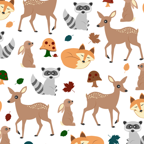 Woodland Animals fabric by jannasalak on Spoonflower - custom fabric