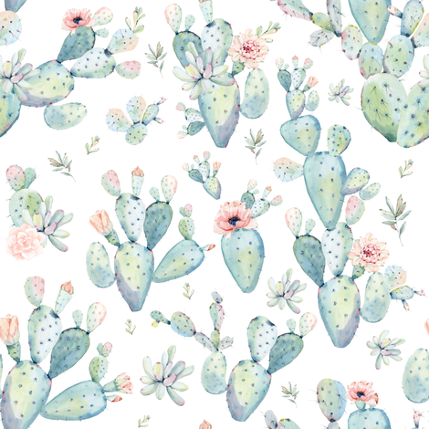 "8"" Love Dreaming Boho Style Succulents fabric by shopcabin on Spoonflower - custom fabric"