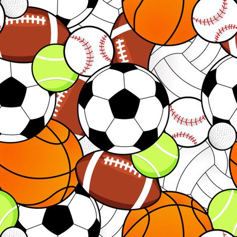 Sports Balls Pattern fabric by jannasalak on Spoonflower - custom fabric