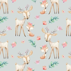 Sweet Deer & Fox (frost gray) - Woodland Animals Flowers Baby Girl Nursery Bedding