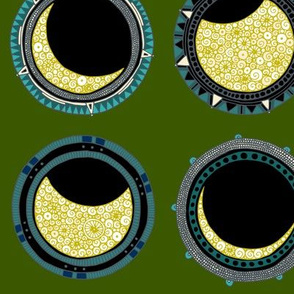 solar eclipse mandala green