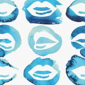Blue Watercolor lips