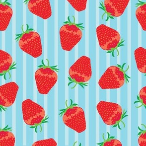 Strawberries on blue stripe
