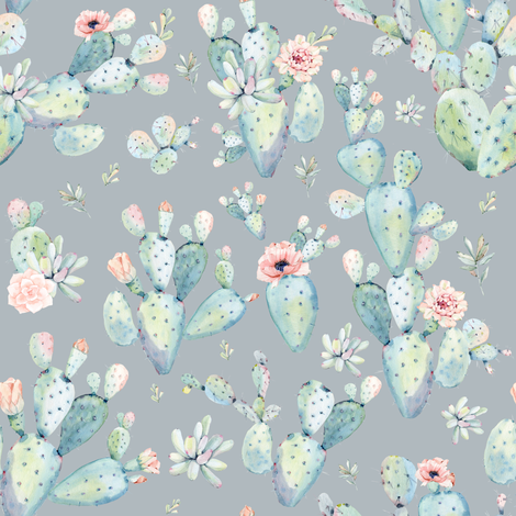 "8"" Love Dreaming Boho Style Succulents / Grey fabric by shopcabin on Spoonflower - custom fabric"