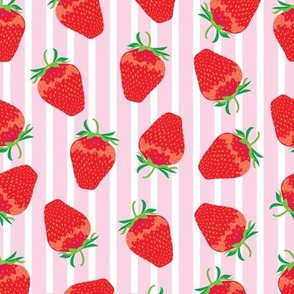 strawberries on pink stripe