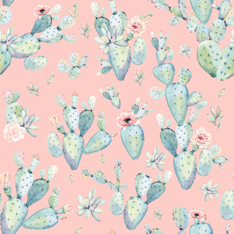 "8"" Love Dreaming Boho Style Succulents / Peach fabric by shopcabin on Spoonflower - custom fabric"