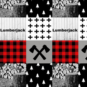 Lumberjack wholecloth woodpile and axes