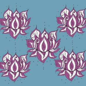 Lotus Flowers on steel blue