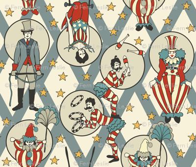 Vintage Circus Performers -Vintage Blue