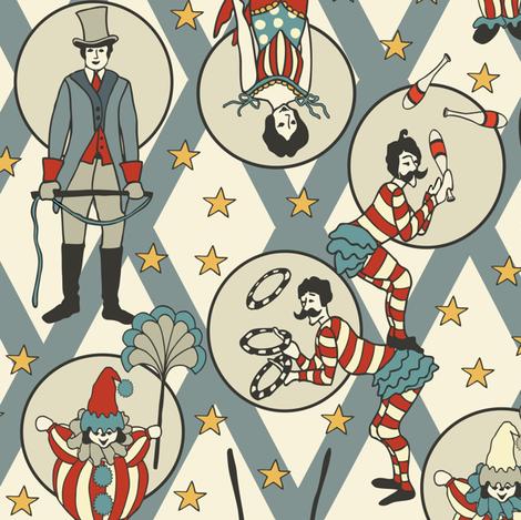 Vintage Circus Performers -Vintage Blue fabric by fernlesliestudio on Spoonflower - custom fabric