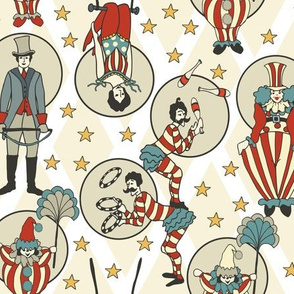 Vintage Circus Performers - White