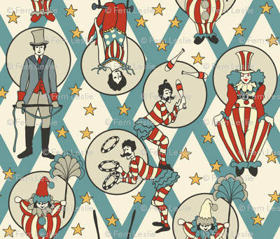 Vintage Circus Performers - Vintage Turquoise